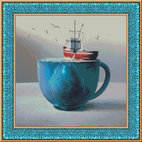 Ship in glass DINA Stitch